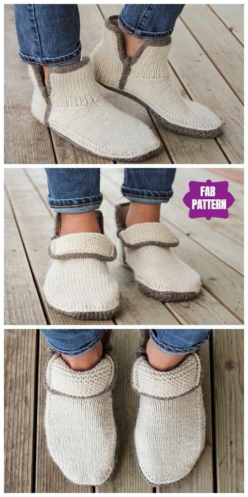 Knit Adult Modern Mocs Slippers Knitting Patterns