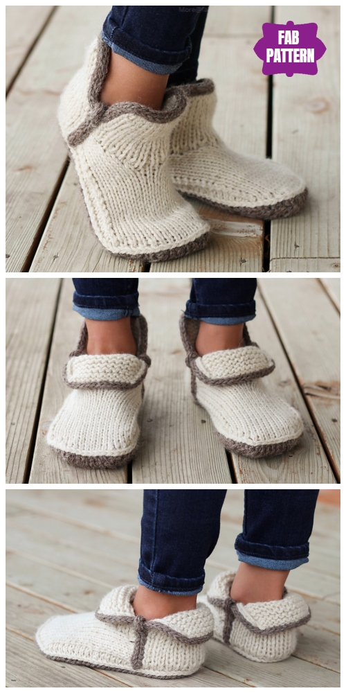 Knit Kids Modern Mocs Slippers Knitting Patterns