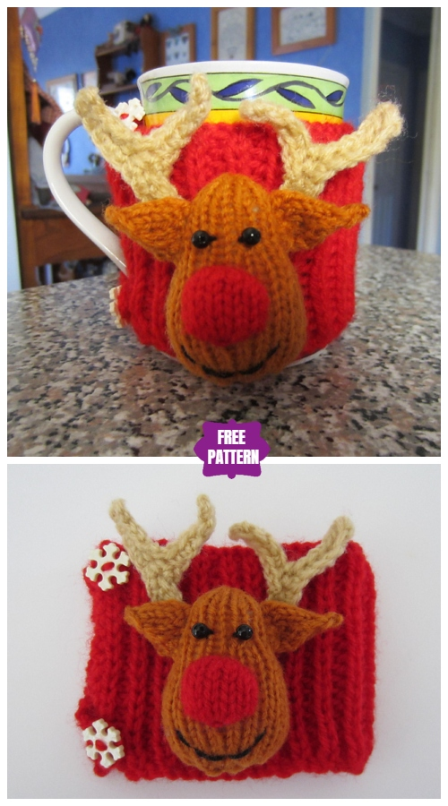 Knit Reindeer Cup Cozy Free Knitting Pattern
