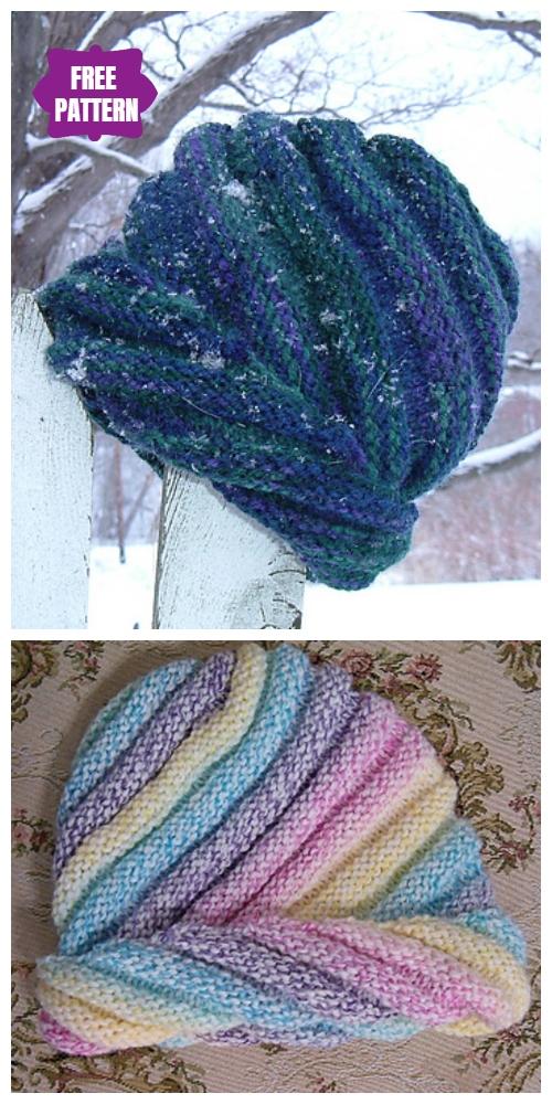 Knit Swirled Ski Cap Free Knitting Patterns
