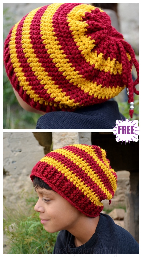 Striped Crochet Slouchy Hat Free Crochet Pattern