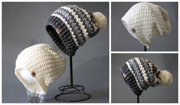 Stripe Crochet Beanie Hat