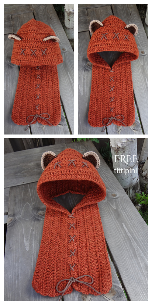 Yub Nub Scoodie ear Hooded Scarf Cowl Free Crochet Patterns