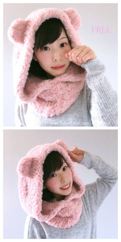 Fluffy Hooded Bear Cowl Free Crochet Pattern
