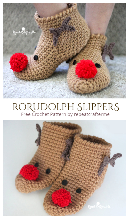 Crochet Rudolph Slipper Socks Free Crochet Pattern + Video