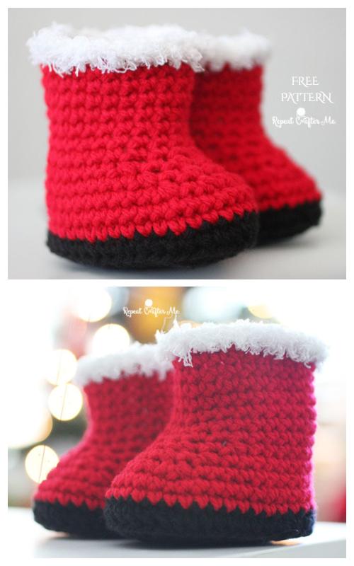 Crochet Santa Baby Booties Free Crochet Patterns