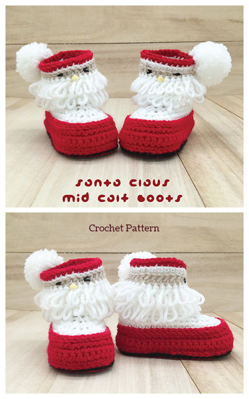Christmas Santa Claus Mid Calf Booties Crochet Pattern