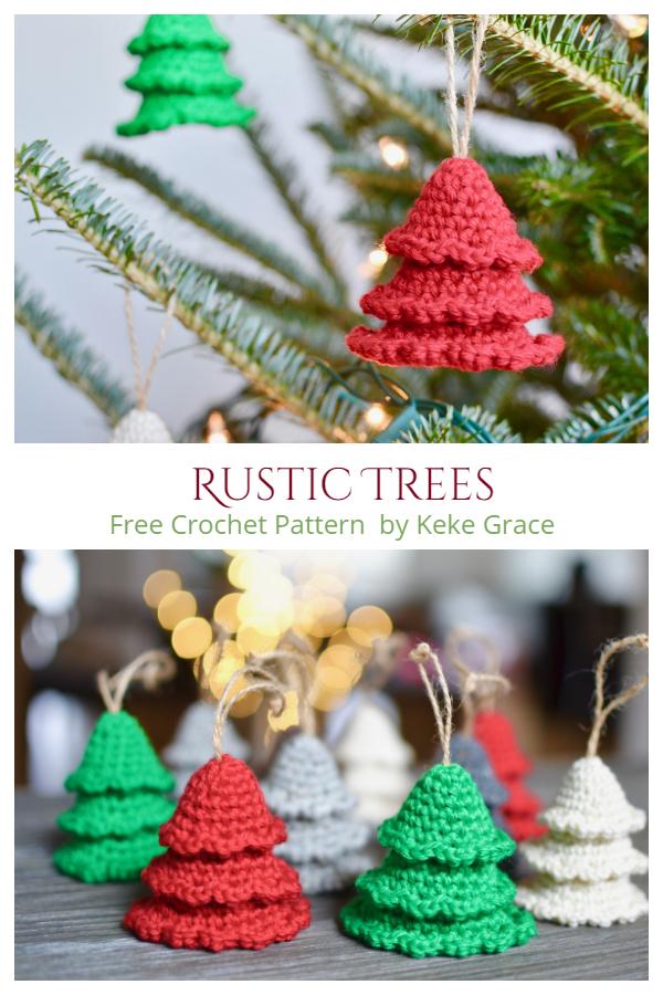Mini Rustic Trees Christmas Ornament Free Crochet Patterns