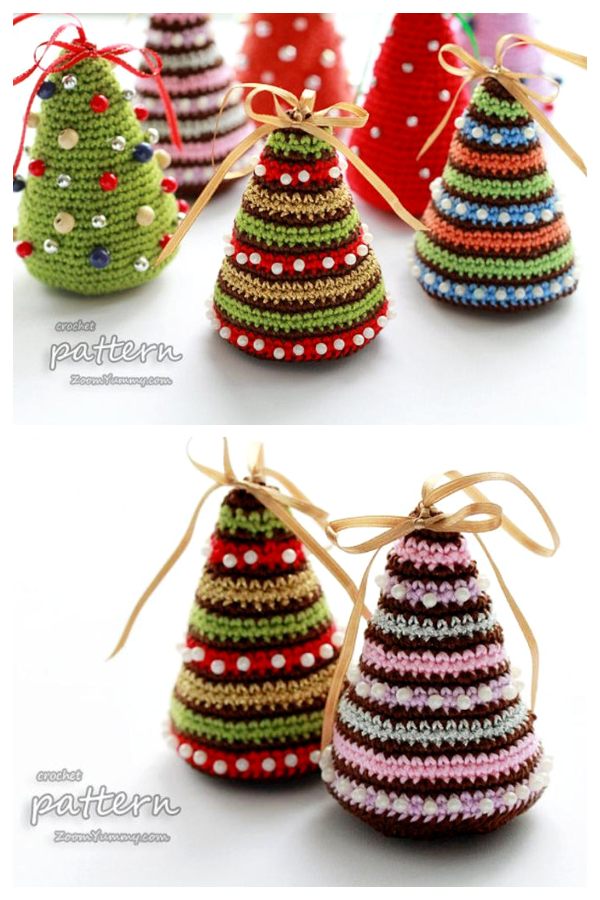 Little Colorful Christmas Trees Ornament Crochet Patterns