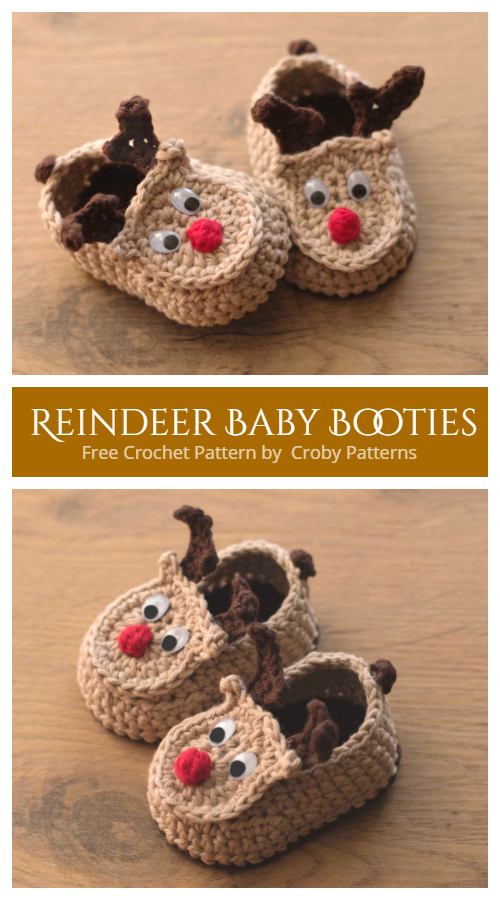 Crochet Christmas Baby Reindeer Booties Free Crochet Pattern + Video