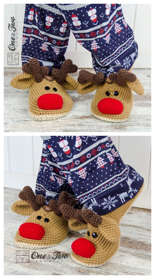 Adult Christmas Reindeer Slippers Crochet Pattern