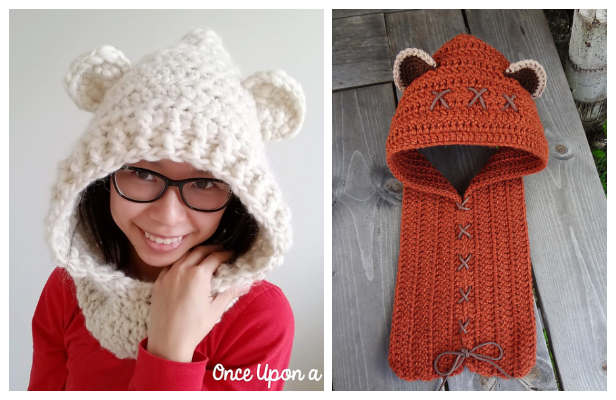 Adult Bear Hooded Scarf Cowl Free Crochet Patterns