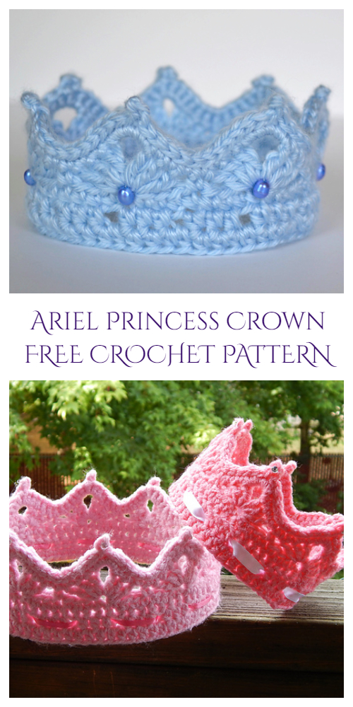 Ariel Princess Crown Ear Warmer Free Crochet Pattern