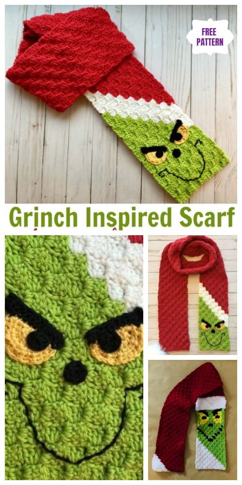 C2C Crochet Grinch Scarf Free Crochet Pattern - Video