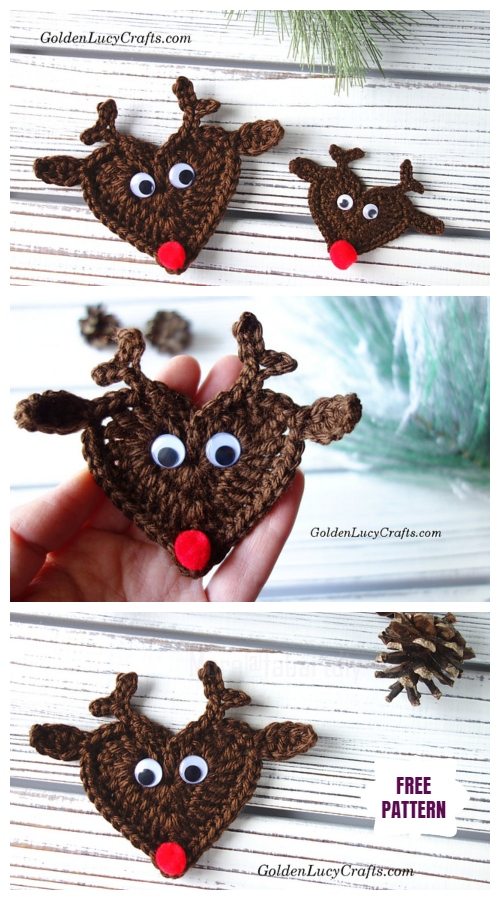 Christmas Crochet Heart Reindeer Applique Free Crochet Pattern