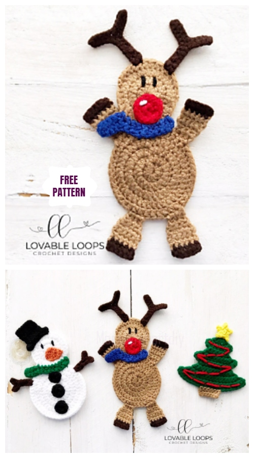 Christmas Crochet Reindeer Applique Free Crochet Pattern