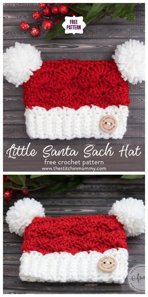 Crochet Santa Clause Sack Hat Free Crochet Pattern - All Sizes