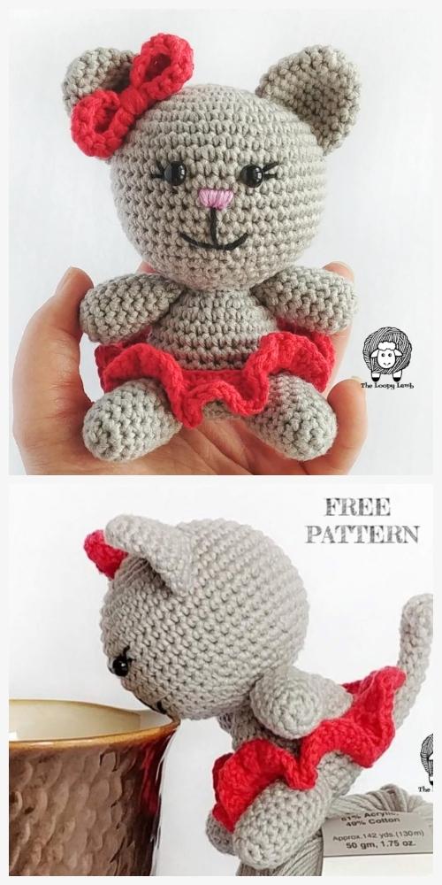 Crochet Bow the kitten Clawdia Cat Amigurumi Free Patterns