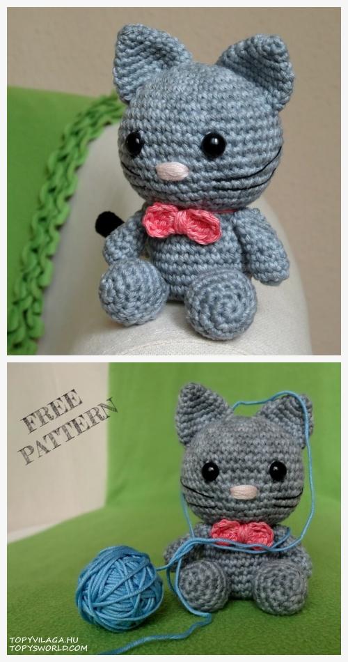 Crochet Bow the kitten Amigurumi Free Patterns
