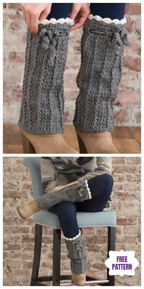Cable Crochet Long Boot Warmer Free Crochet Pattern