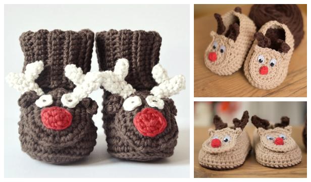 Crochet Christmas Reindeer Boots Free Crochet Patterns