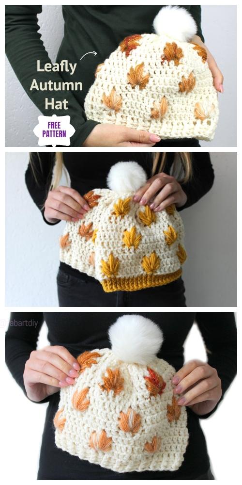 Crochet Leaf Stitch Beanie Hat Free Crochet Patterns - Video