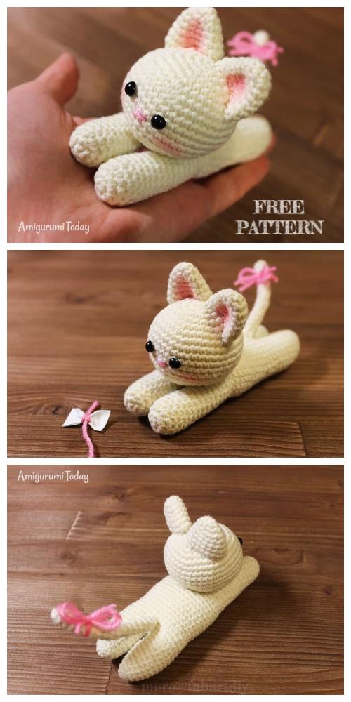 Crochet Lying Kittens Amigurumi Free Patterns