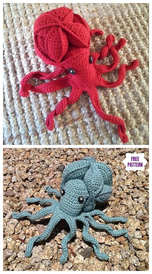 Crochet Olive Octopus Puzzle Amigurumi Free Pattern
