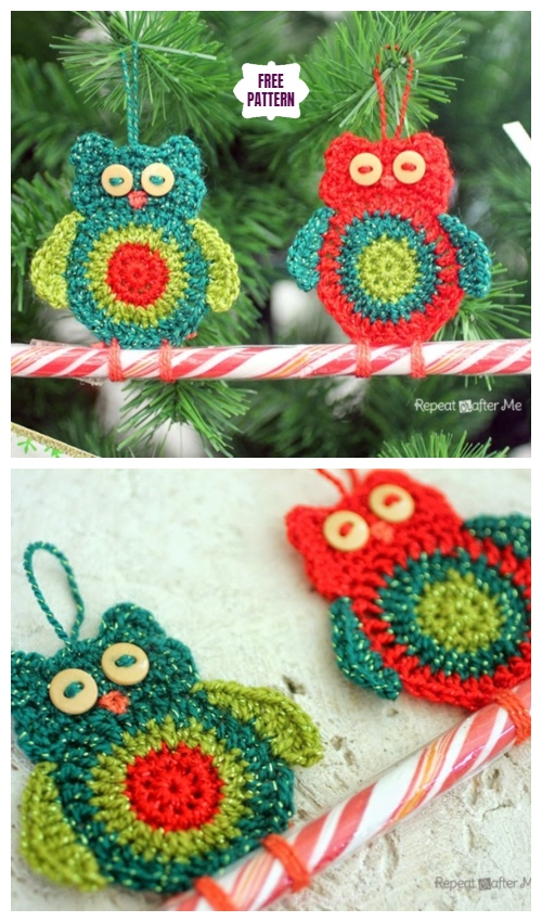 Crochet Owl Candy Cane Ornaments Free Crochet Pattern