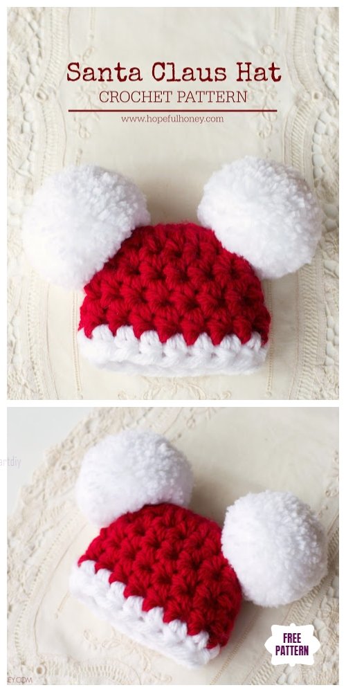 Crochet Santa Clause Pom Pom Hat Free Crochet Patterns