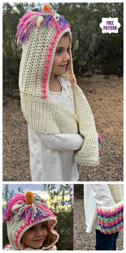Crochet Unicorn Hood Scarf With Pocket Free Crochet Pattern Diy