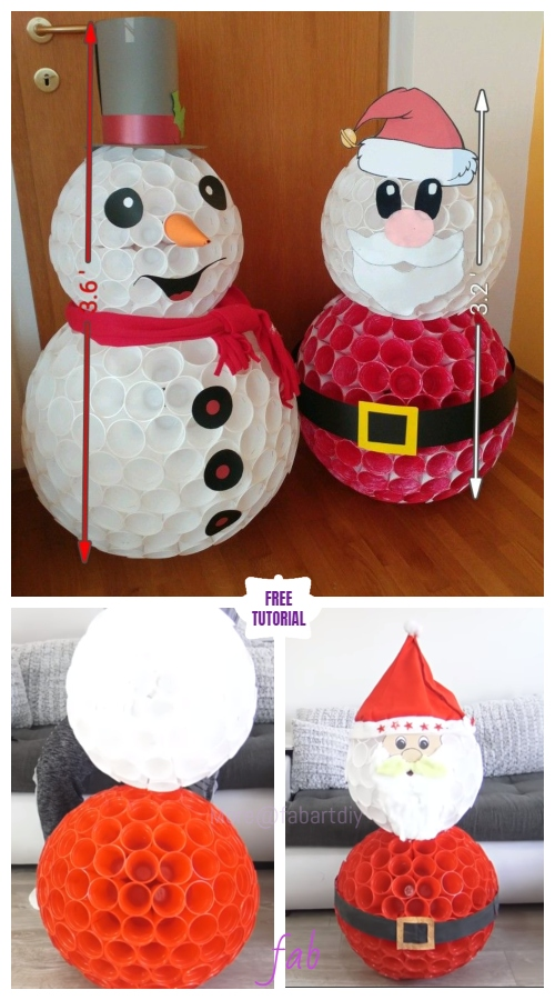 DIY Christmas Plastic Cup Santa Light Tutorial - Video