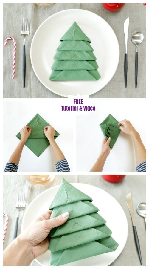 DIY Christmas Tree Napkin Folding Tutorial - Video