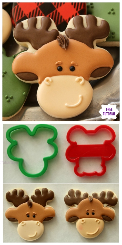 DIY Upside Down Gingerbread Moose Cookie Tutorial