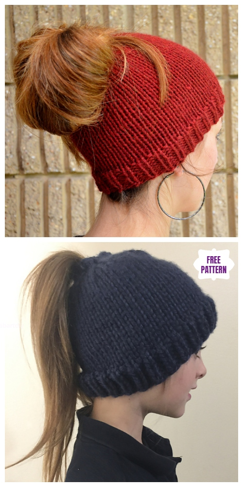 Easy Knit Messy Bun Hat Free Knitting Patterns - Holey Hat