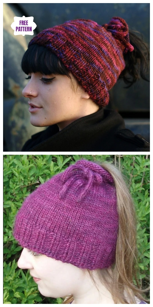 Easy Knit Messy Bun Hat Free Knitting Patterns - Tea Cozy Hat