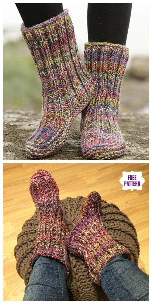 Knit Ribbed Garter Stitch Slippers Free Knitting Pattern
