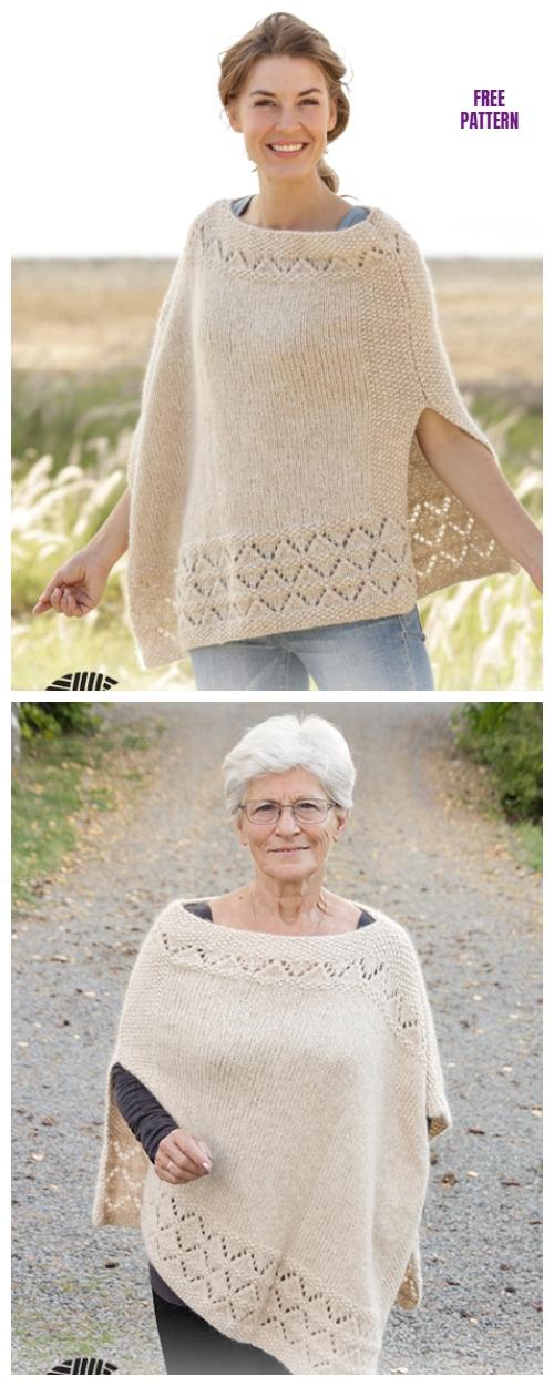 Knit Seed Stitch Lace Poncho Free Knitting Pattern