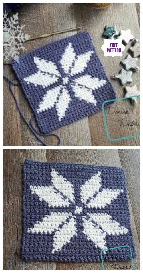 Tapestry Snowflake Afghan Square Free Crochet Patterns