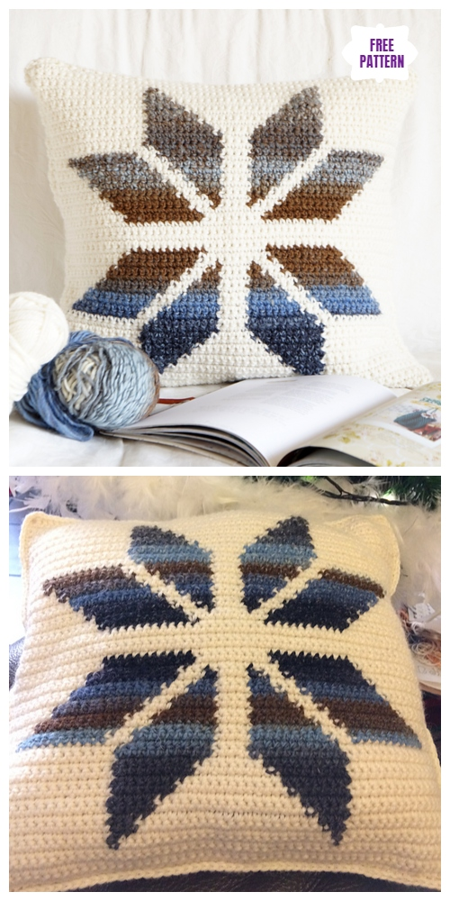 Crochet Tapestry Snowflake Square Pillow Free Crochet Pattern