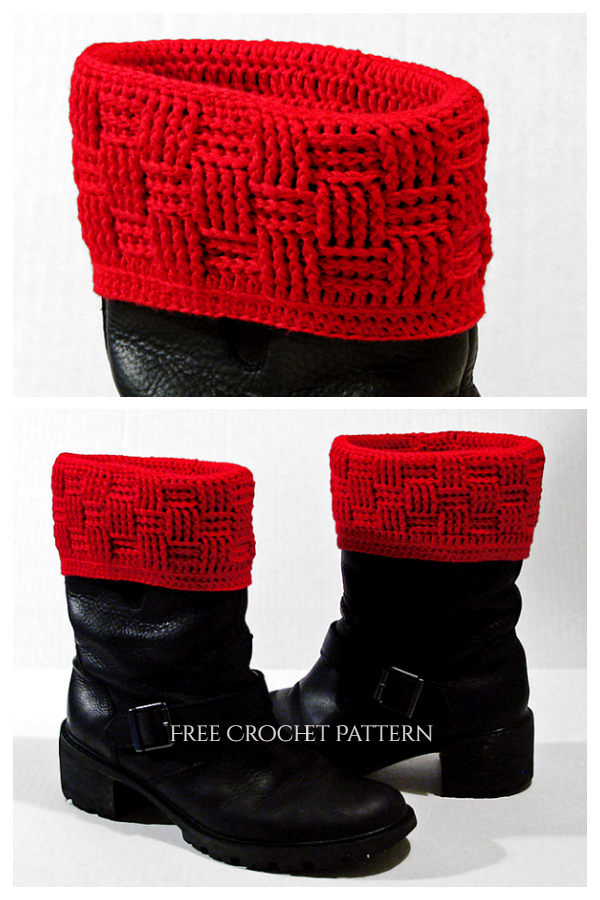 Basketweave Boot Covers Free Crochet Pattern