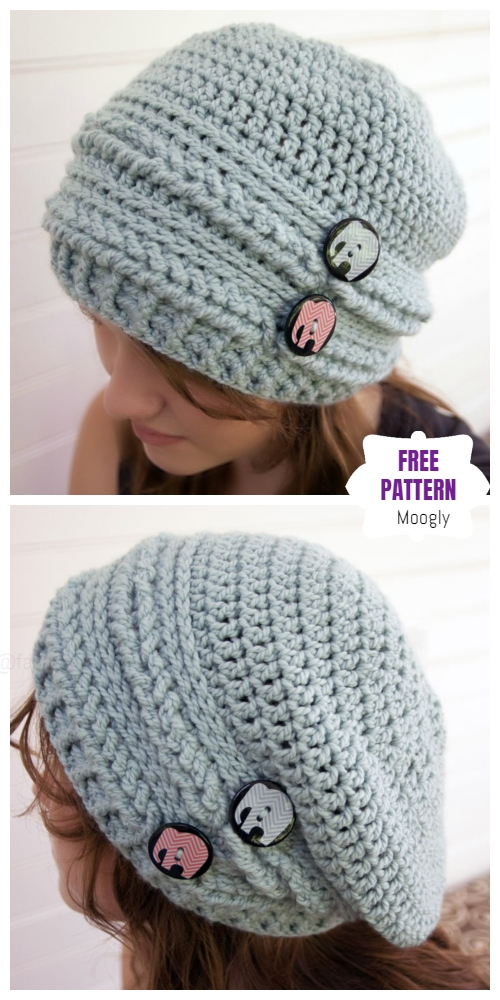 Crochet Ups & Downs Slouchy Hat & Gloves Set Free Crochet Patterns