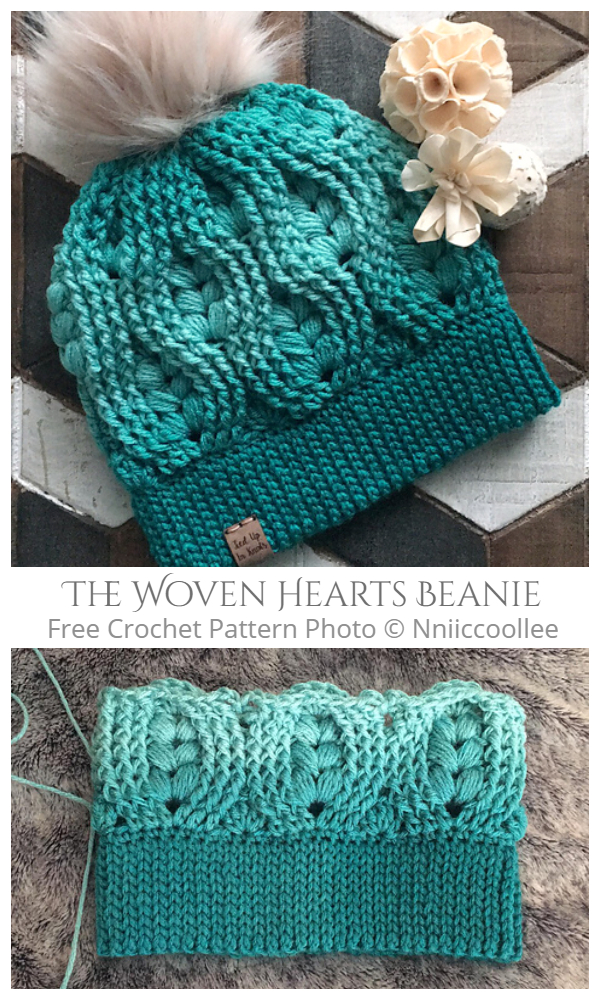 The Woven Hearts Beanie Free Crochet Patterns