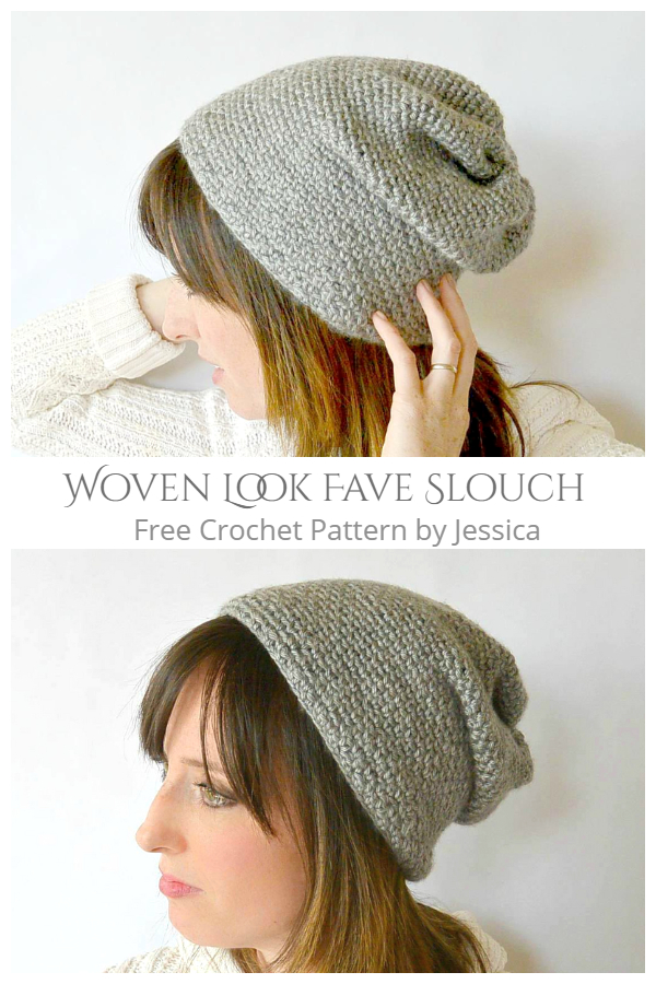 Woven Look Fave Slouch Beanie Free Crochet Patterns