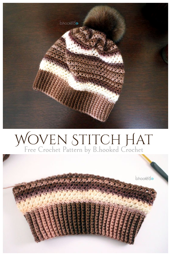 Crochet Woven Stitch Beanie Hat Free Crochet Pattern