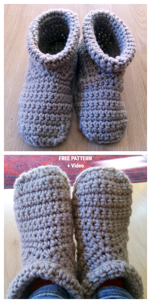 Cozy Crocheted Slipper Boots Free Crochet Pattern + Video