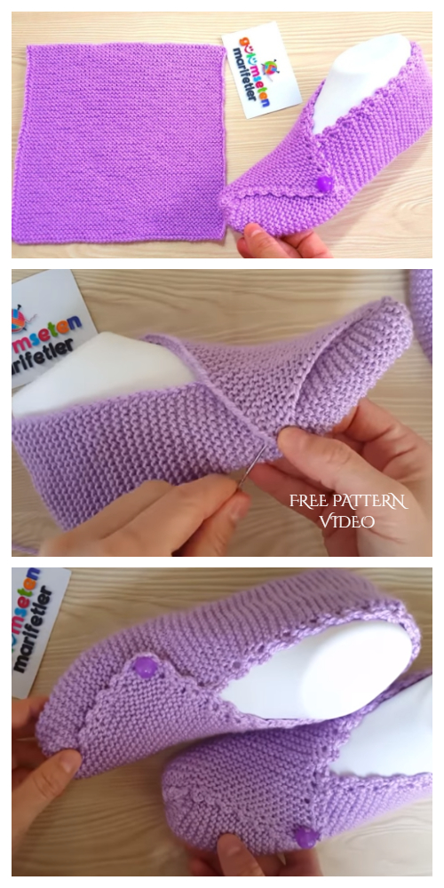 Knit Mesh Square Slippers Free Knitting Pattern + Video
