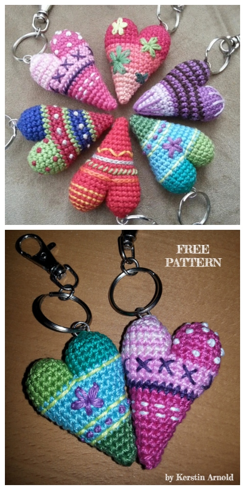 Crochet 3D Heart Keychain Amigurumi Free Patterns