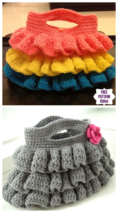 Crochet Bella Ruffled Bag Free Crochet Pattern - Video