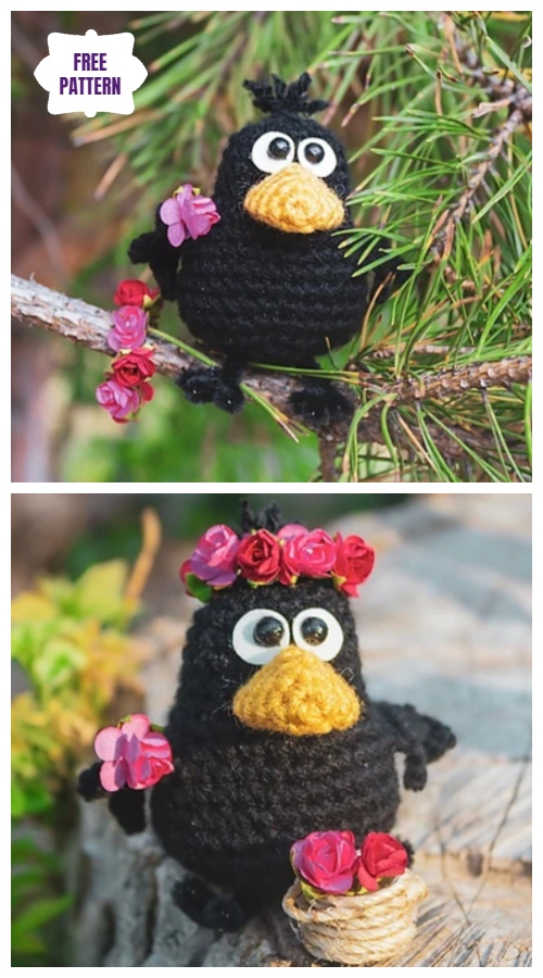 Crochet Bird Crow Amigurumi Free Pattern with Video tutorial